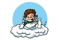 Baby eats clouds. Colour drawing for Gazzetta dei Piccoli (Toddlers' Gazette) column of the Gazzetta di Parma (Gazette of Parma)