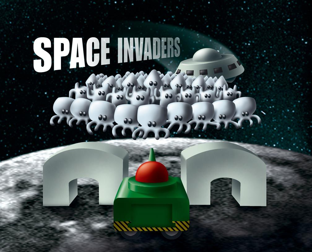 Illustrazione digitale videogioco Space Invaders