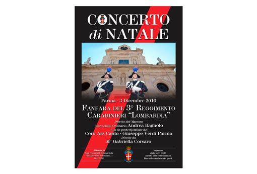 "Poster for the Christmas Concert 2016 of the Fanfare of the 3rd Carabinieri Regiment ""Lombardia"""